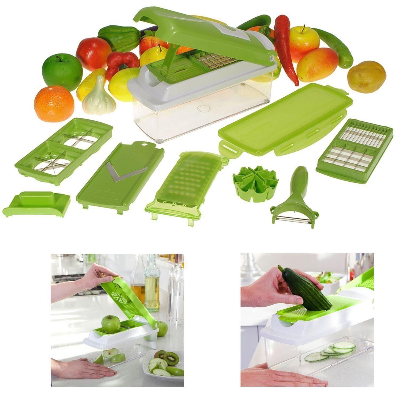 nicer dicer plus 12 pcs salad vegetable fruit slicer shredder cutter peeler chopper kitchen tool. Black Bedroom Furniture Sets. Home Design Ideas