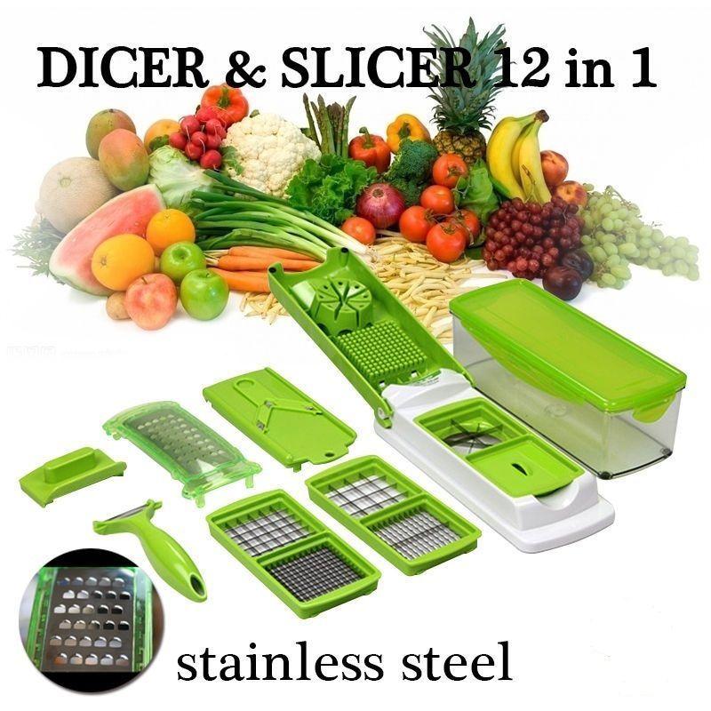 Nicer Dicer Plus 12 Pcs Salad Vegetable Fruit Slicer Shredder Cutter Peeler Chopper Kitchen Tool Set Repair Products